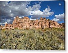 Sandstone And Clouds In Zion Natl Park Utah Acrylic Print by Yva Momatiuk John Eastcott