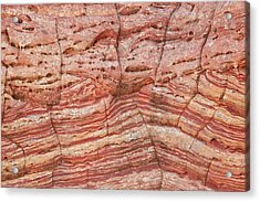 Sandstone Wall With Red And Salmon Acrylic Print