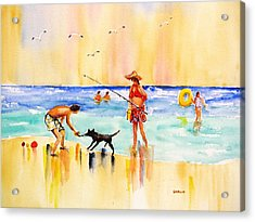 Sandy Dog At The Beach Acrylic Print by Carlin Blahnik