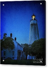 Acrylic Print featuring the photograph Sandy Hook Lighthouse At Twilight by Debra Fedchin