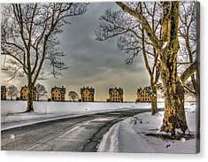 Sandy Hook Officers Row In Snow Acrylic Print by Geraldine Scull