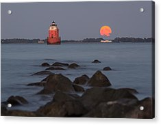 Sandy Point Lighthouse Moonrise Acrylic Print