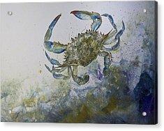 Sandy Surfer Acrylic Print by Nancy Gorr