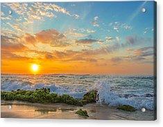Sandy Beach Sunrise 3 Acrylic Print by Leigh Anne Meeks