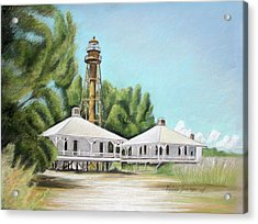 Acrylic Print featuring the painting Sanibel Lighthouse by Melinda Saminski