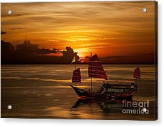 Sanpan Sunset Acrylic Print by Shirley Mangini