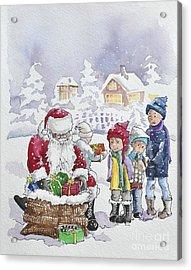 Santa And Children Acrylic Print