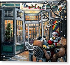 Santa At Toodeloos Toy Store Acrylic Print by Eileen Patten Oliver