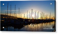 Santa Barbara Harbor With Yachts Boats At Sunrise In Silhouette Acrylic Print by ELITE IMAGE photography By Chad McDermott