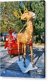 Santa Claus And Reindeer Acrylic Print