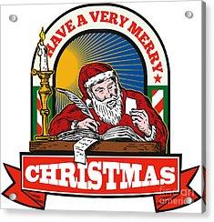 Santa Claus Father Christmas Writing Letter Acrylic Print by Aloysius Patrimonio