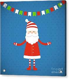 Santa Claus On A Blue Background Acrylic Print