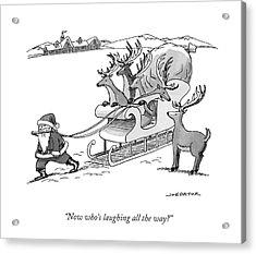 Santa Claus Pulls A Sleigh Full Of Reindeer Acrylic Print