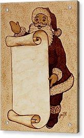 Acrylic Print featuring the painting Santa Claus Wishlist Original Coffee Painting by Georgeta  Blanaru