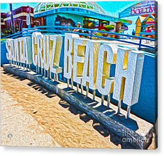 Santa Cruz Boardwalk Sign Acrylic Print by Gregory Dyer