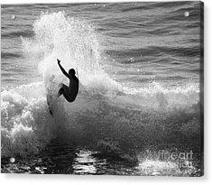 Santa Cruz Surfer Black And White Acrylic Print by Paul Topp