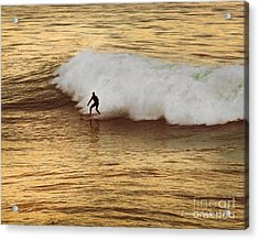 Santa Cruz Surfing At The Golden Hour Acrylic Print by Artist and Photographer Laura Wrede