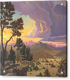 Acrylic Print featuring the painting Santa Fe Baldy - Detail by Art James West