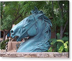 Acrylic Print featuring the photograph Santa Fe Big Blue Horse by Sylvia Thornton