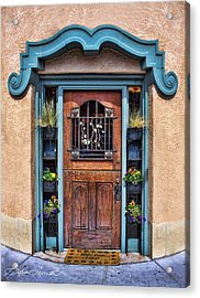Acrylic Print featuring the photograph Santa Fe Blue Door by Sylvia Thornton