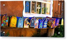 Acrylic Print featuring the photograph Santa Fe Mailboxes by Wendell Thompson