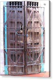 Acrylic Print featuring the photograph Santa Fe Old Door by Dora Sofia Caputo Photographic Art and Design