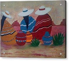 Santa Fe Women Acrylic Print by Judi Goodwin