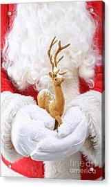 Santa Holding Reindeer Figure Acrylic Print by Amanda Elwell