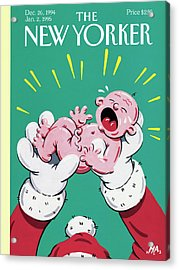 Santa Holding The New Year Baby Who Is Crying Acrylic Print by Bob Zoell (HA