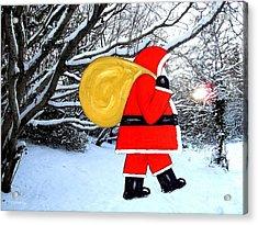 Santa In Winter Wonderland Acrylic Print by Patrick J Murphy