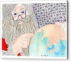 Santa Is Planning Acrylic Print by Paula Dickerhoff
