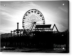 Santa Monica Ferris Wheel Black And White Photo Acrylic Print by Paul Velgos