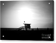 Santa Monica Lifeguard Tower In Black And White Acrylic Print by Paul Velgos