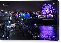 Acrylic Print featuring the digital art Santa Monica Pier 5 by Gandz Photography