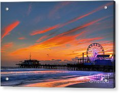 Santa Monica Pier At Dusk Acrylic Print