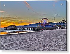 Santa Monica Pier At Dusk Acrylic Print by Joe  Burns
