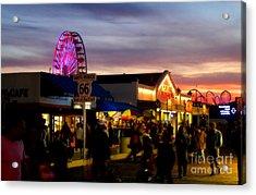 Santa Monica Pier At Sunset Acrylic Print by Diana Sainz