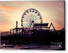 Santa Monica Pier Ferris Wheel Retro Photo Acrylic Print by Paul Velgos