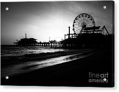 Santa Monica Pier In Black And White Acrylic Print