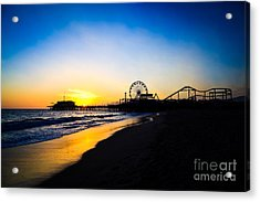 Santa Monica Pier Pacific Ocean Sunset Acrylic Print by Paul Velgos