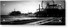 Santa Monica Pier Panorama Black And White Photo Acrylic Print by Paul Velgos