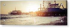 Santa Monica Pier Retro Sunset Panorama Photo Acrylic Print by Paul Velgos