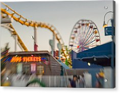 Santa Monica Pier Ride Entrance Acrylic Print by Scott Campbell