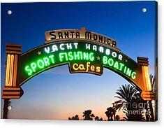 Santa Monica Pier Sign Acrylic Print by Paul Velgos