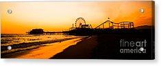 Santa Monica Pier Sunset Panorama Picture Acrylic Print by Paul Velgos