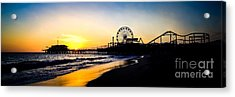 Santa Monica Pier Sunset Panoramic Photo Acrylic Print by Paul Velgos