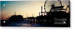 Santa Monica Pier Sunset Retro Panoramic Photo Acrylic Print by Paul Velgos