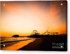 Santa Monica Pier Sunset Southern California Acrylic Print by Paul Velgos