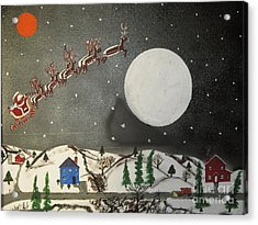 Acrylic Print featuring the painting Santa Over The Moon by Jeffrey Koss