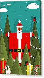 Santa With Gifts And Presents In Woods Acrylic Print